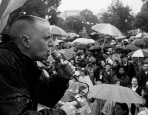 Feinberg addressing a rally.
