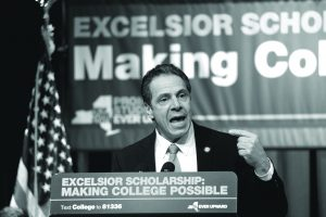New York Gov. Andrew Cuomo speaks during a rally for the Excelsior Scholarship, his plan for free tuition at public universities, at the Buffalo State College student union, Tuesday, Feb. 7, 2017. (Derek Gee/Buffalo News)
