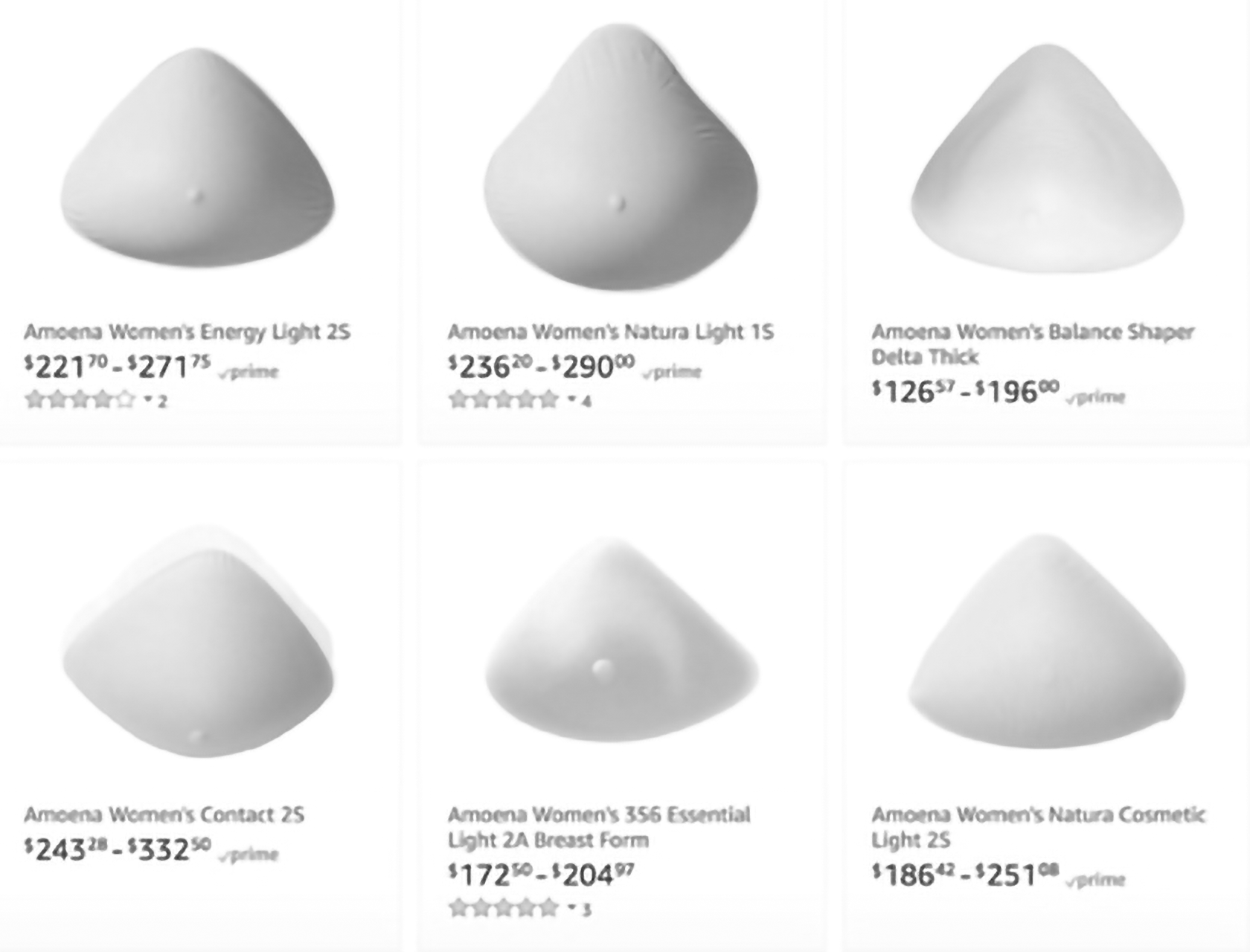 Fig. 1 - Amoena breast forms on Amazon.com